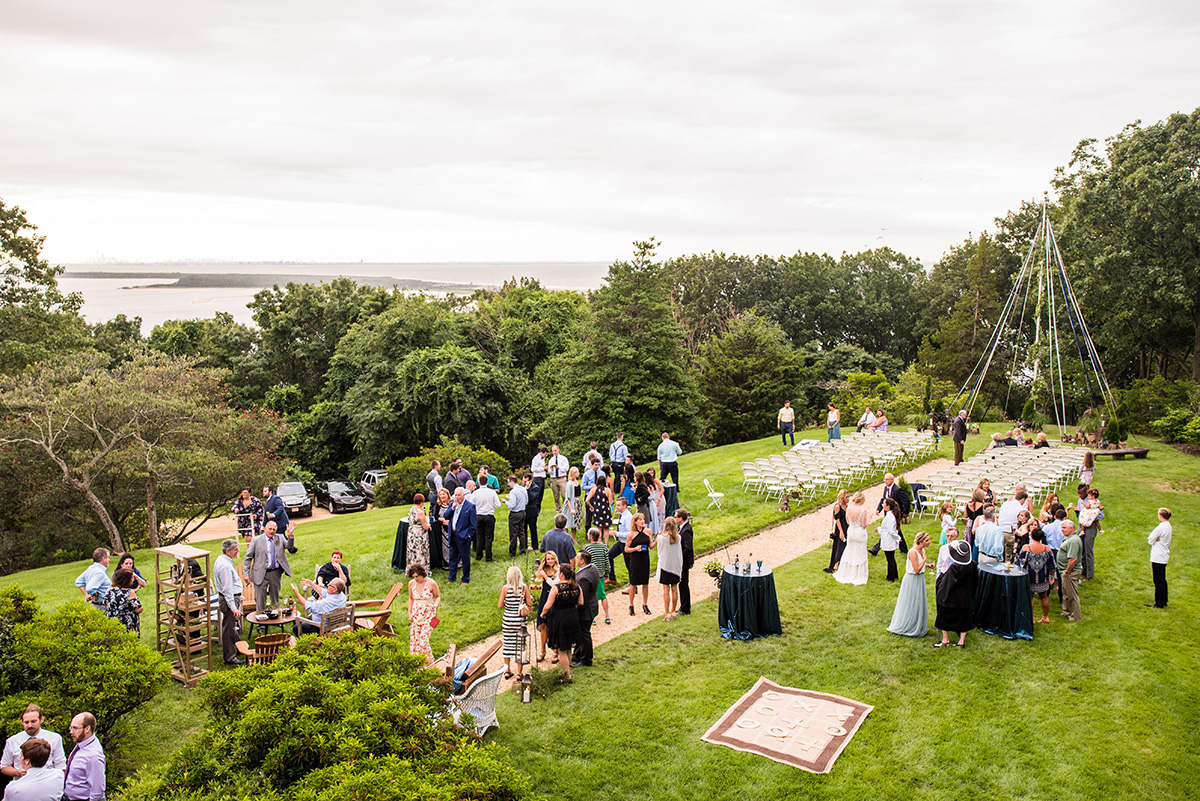 view from above of outdoor wedding reception at Water Witch Club in New Jersey