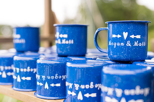 blue metal camp mugs personalized with the bride and groom's names