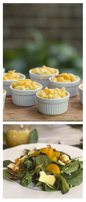 individual servings of macaroni and cheese with a citrus salad