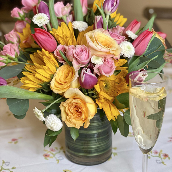 Mother's Day bouquet with a mix of colorful spring flowers