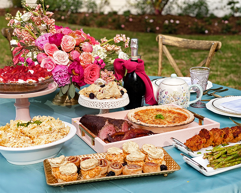 Mother's Day Brunch on a table in the garden