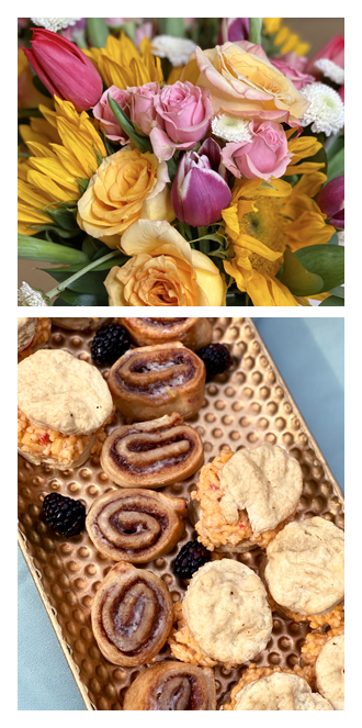 Mother's Day bouquet, cinnamon rolls, and pimiento cheese biscuits