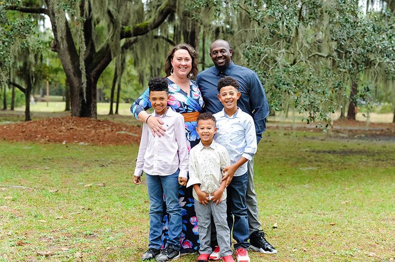The Wheeler Family a mom, dad, and three boys