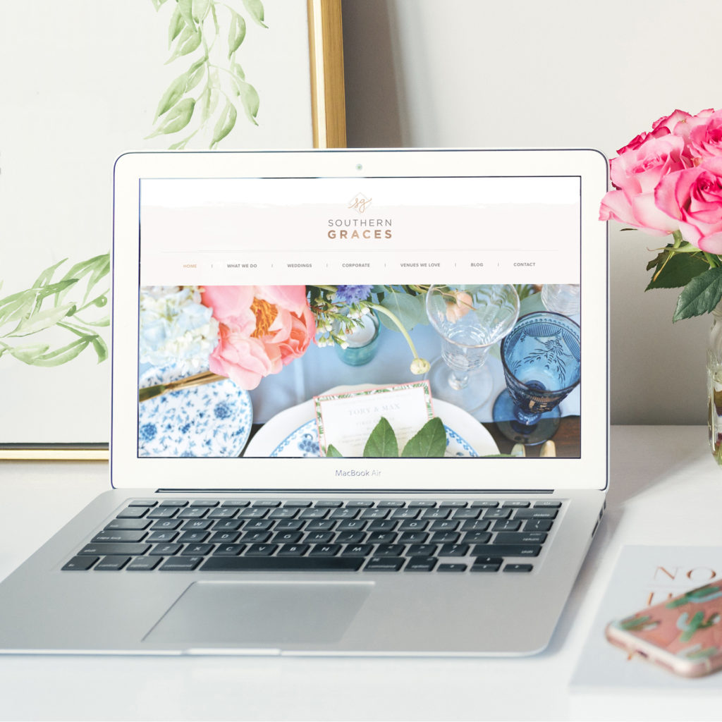 Southern Graces new website displayed on a laptop computer